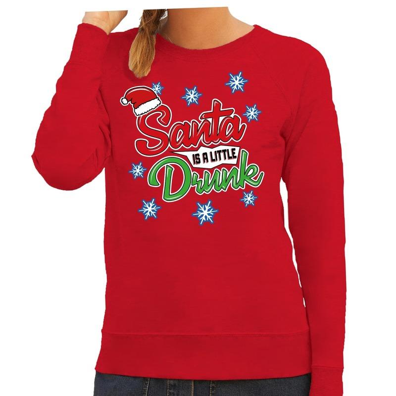 Foute kersttrui - sweater Santa is a little drunk rood dames