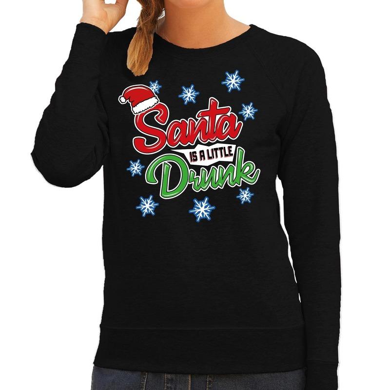 Foute kersttrui - sweater Santa is a little drunk zwart dames