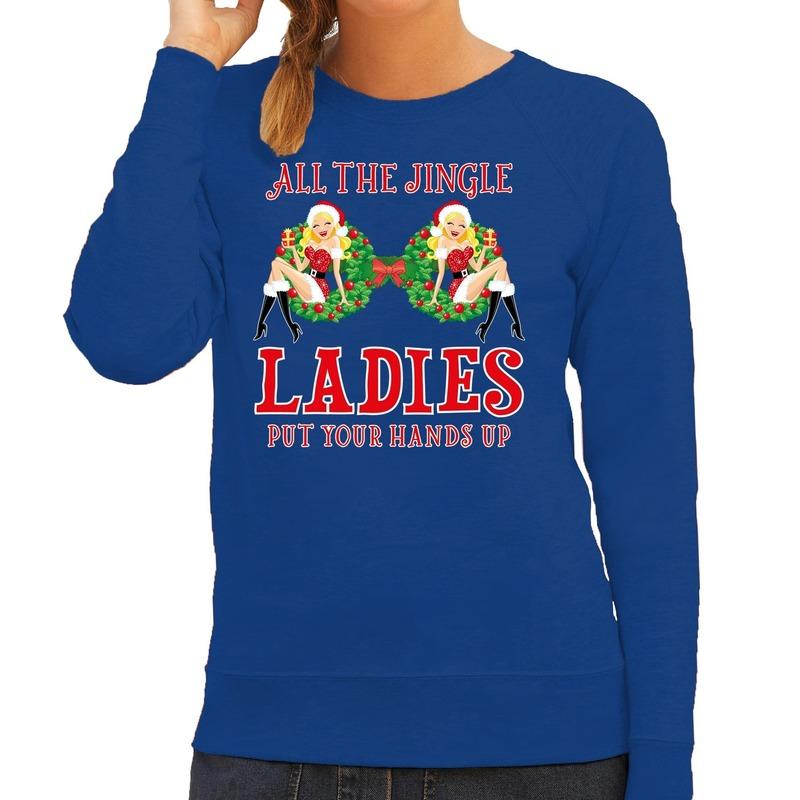 Foute kersttrui - sweater single - jingle ladies blauw dames