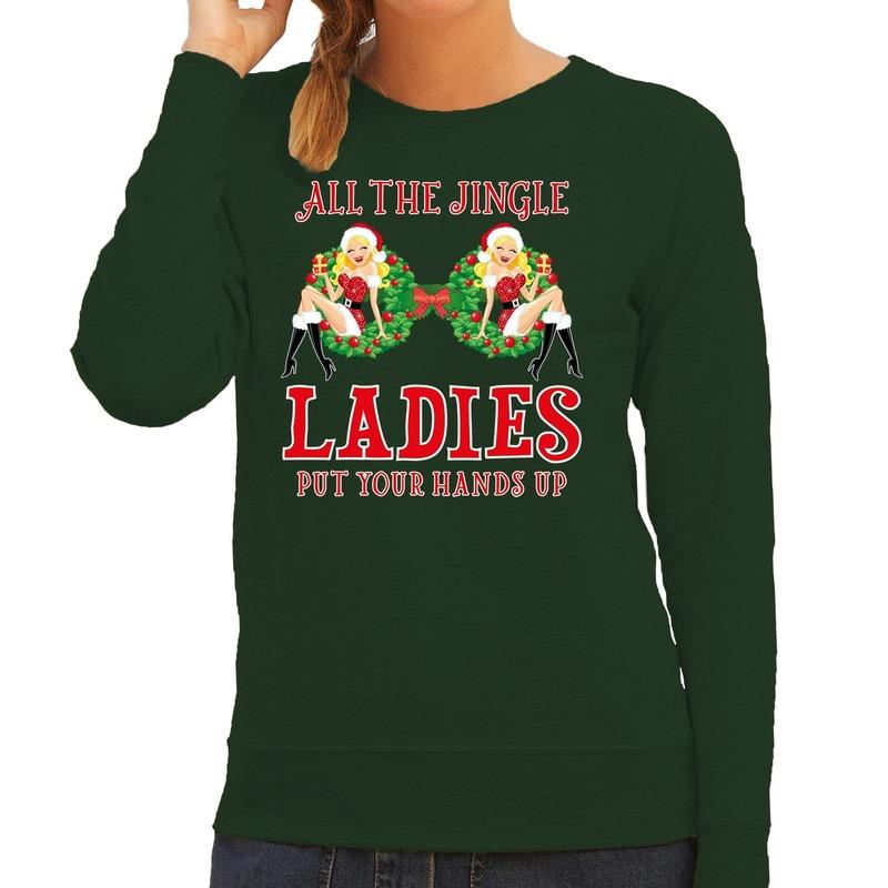 Foute kersttrui - sweater single - jingle ladies groen dames