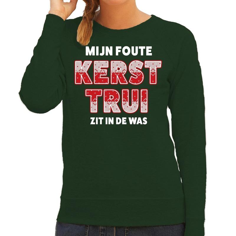 Foute kersttrui - sweater Zit in de was groen voor dames
