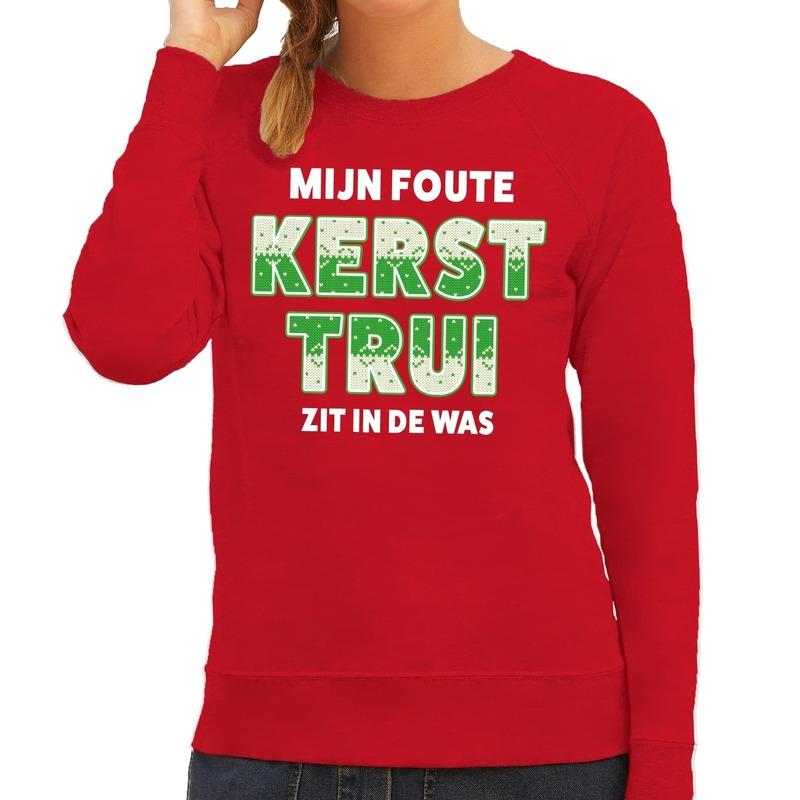 Foute kersttrui - sweater zit in de was rood voor dames