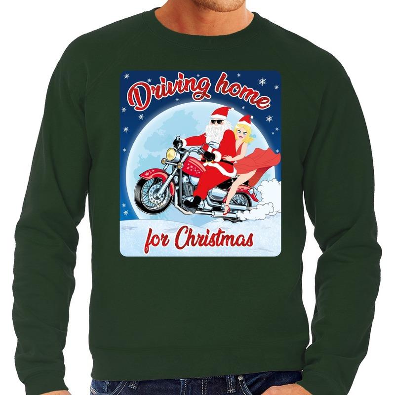 Foute kersttrui voor motorliefhebbers driving home groen heren