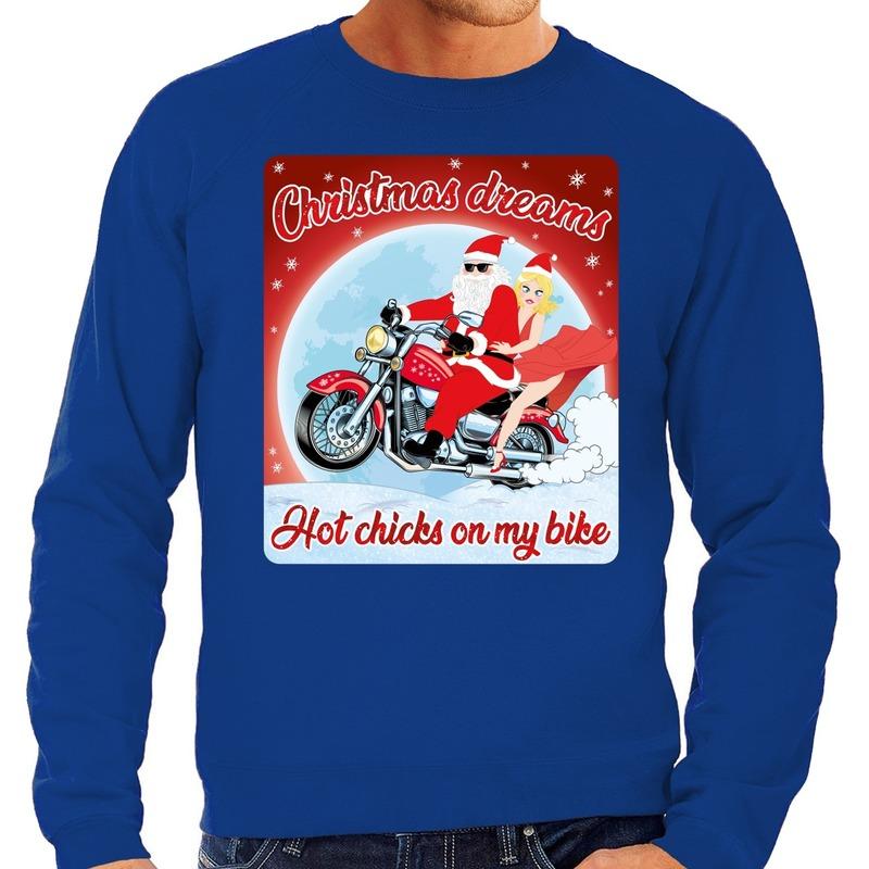Foute kersttrui voor motorliefhebbers hot chicks blauw heren