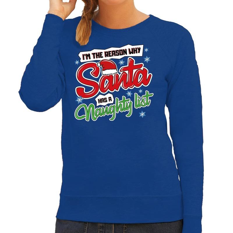 Foute Kersttrui why santa has a naughty list blauw voor dames