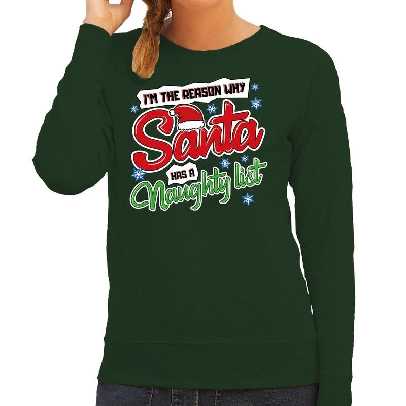Foute Kersttrui why santa has a naughty list groen voor dames