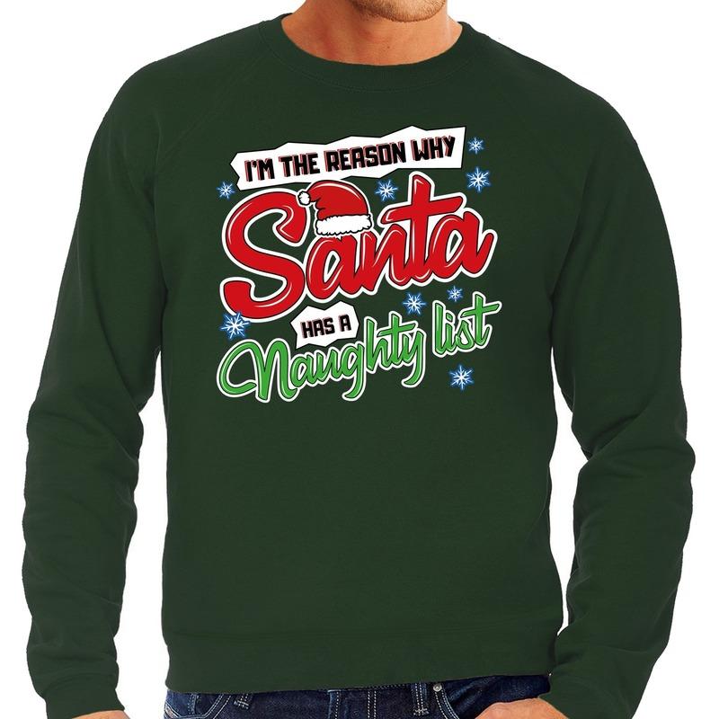 Foute Kersttrui why santa has a naughty list groen voor heren