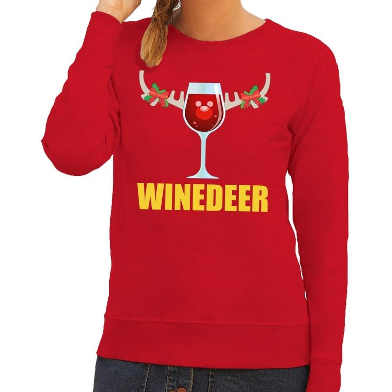Foute kersttrui Winedeer rood voor dames S (36) Rood