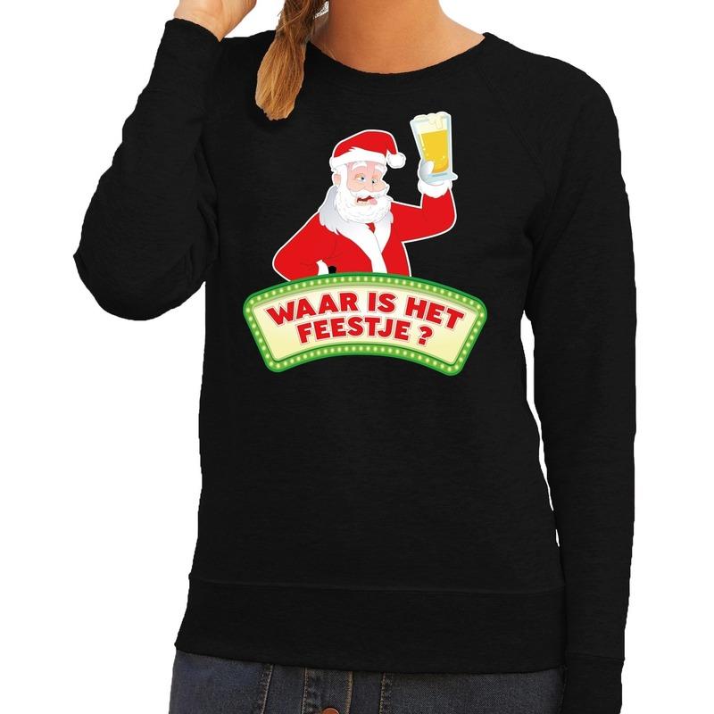 Foute kersttrui zwart Waar is het Feestje voor dames