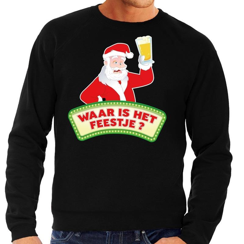 Foute kersttrui zwart Waar is het Feestje voor heren