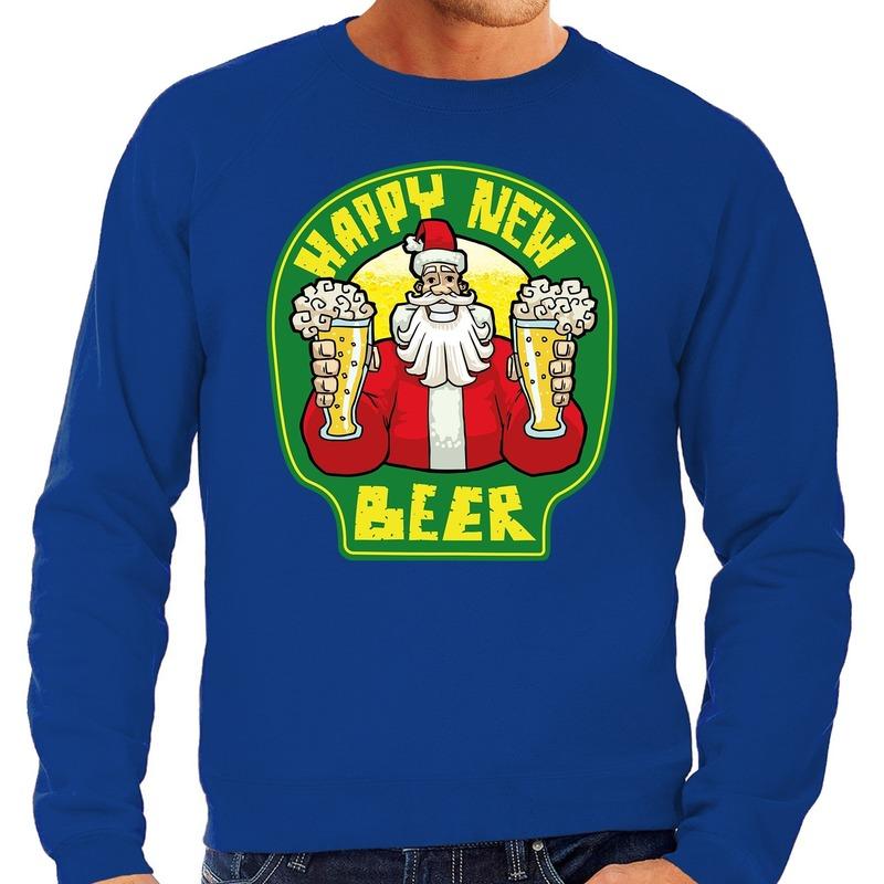 Foute Nieuwjaar - Kersttrui happy new beer - bier blauw heren