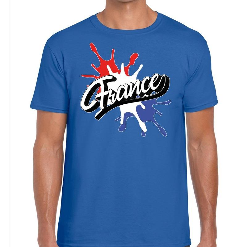 France/Frankrijk t-shirt spetter blauw voor heren