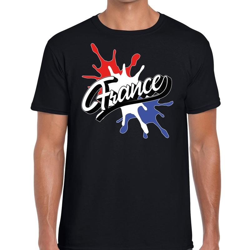 France/Frankrijk t-shirt spetter zwart voor heren