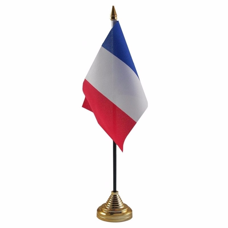Frankrijk tafelvlaggetje 10 x 15 cm met standaard