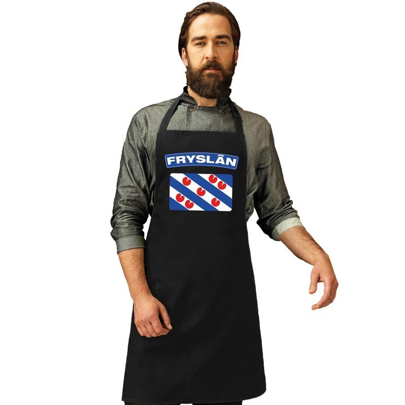 Friesland vlag barbecueschort/ keukenschort zwart volwassenen - Feestschorten