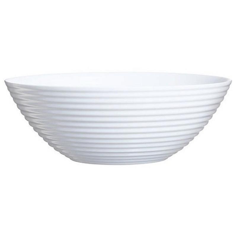 Fruitschaal van wit glas 27 cm