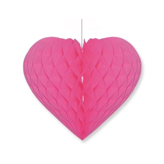 Fuchsia roze decoratie hart 40 cm
