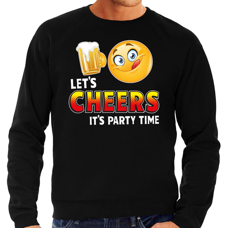 Funny emoticon sweater Lets cheers its party time zwart heren