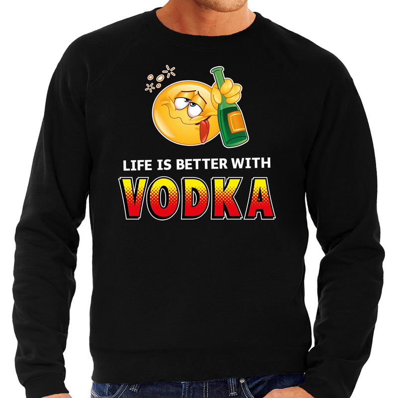 Funny emoticon sweater Life is better with vodka zwart heren