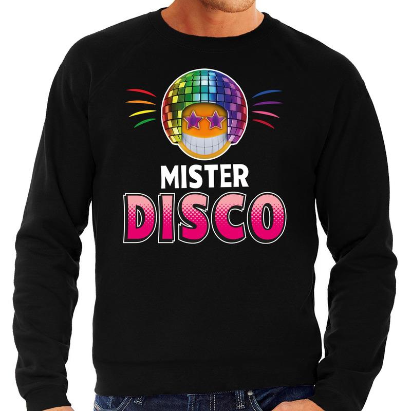 Funny emoticon sweater Mister disco zwart heren