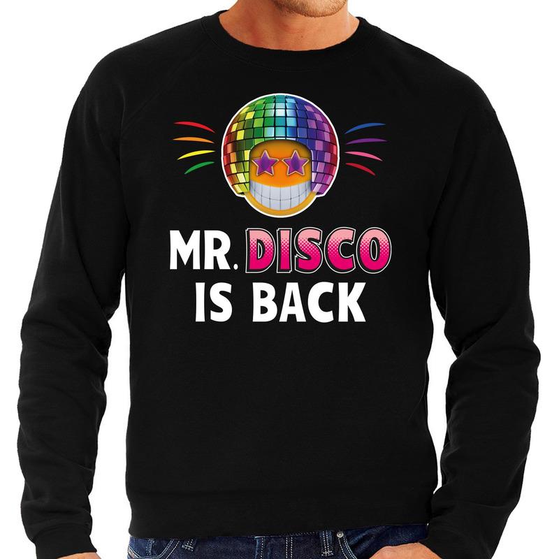 Funny emoticon sweater Mr. Disco is back zwart heren