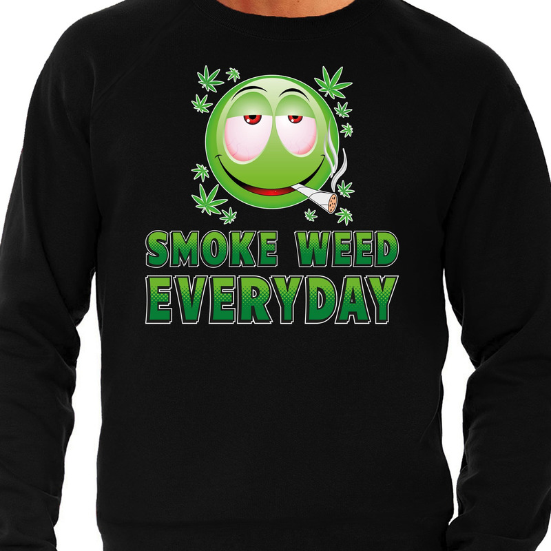 Funny emoticon sweater Smoke weed every day zwart heren