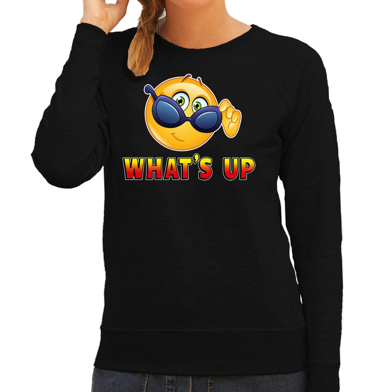 Funny emoticon sweater Whats up zwart dames