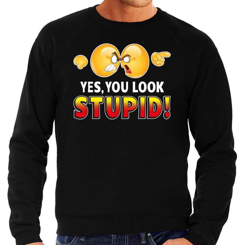 Funny emoticon sweater Yes you look stupid zwart heren