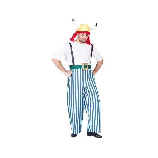 Gallier kostuum blauw/wit voor heren