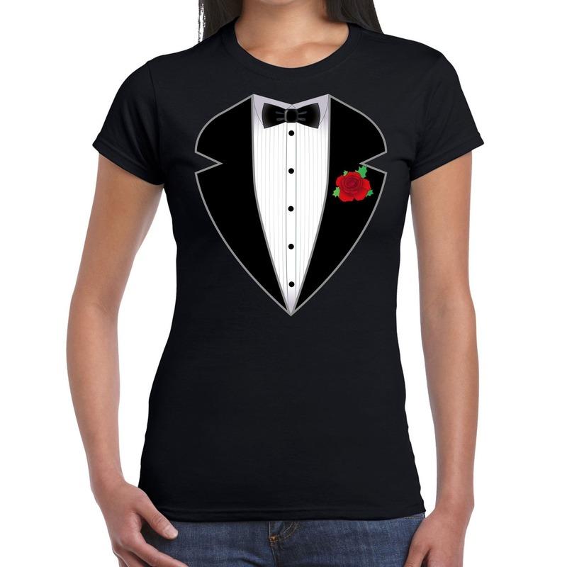 Gangster - maffia pak kostuum t-shirt zwart voor dames