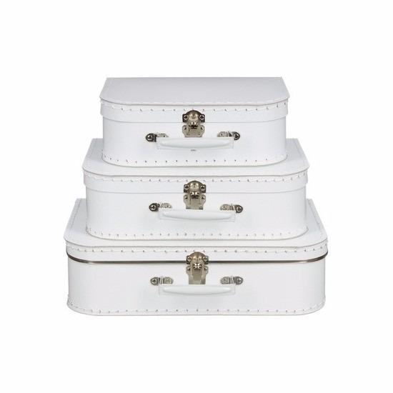Geboorte kraamcadeau koffertje wit 25 cm