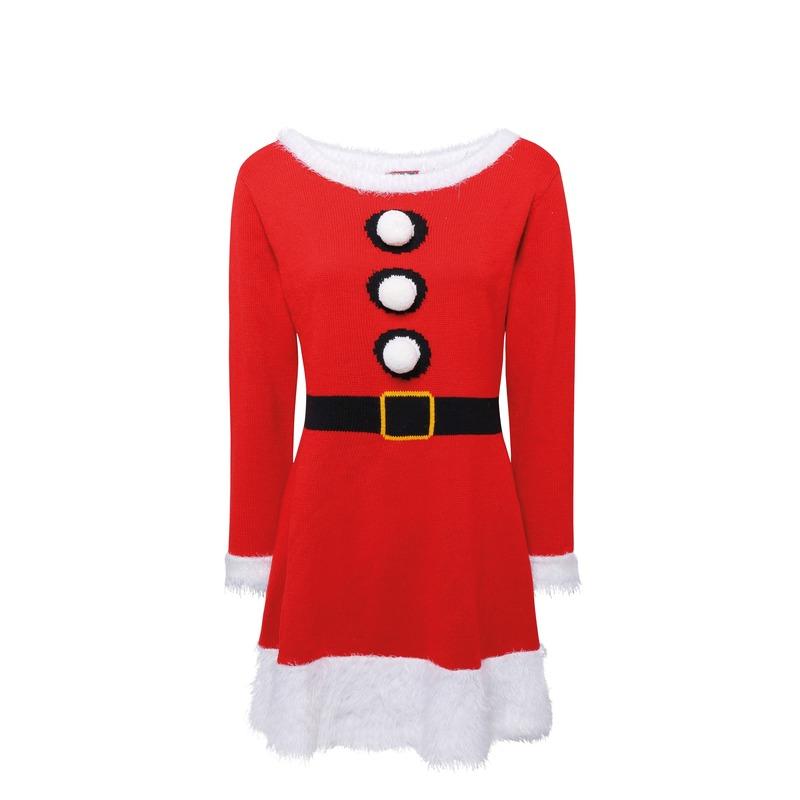 Gebreid Kerstvrouw jurkje voor dames
