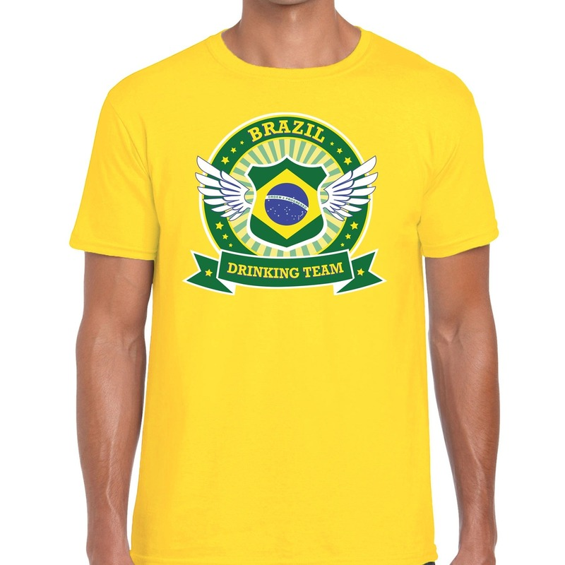 Geel Brazil drinking team t-shirt heren