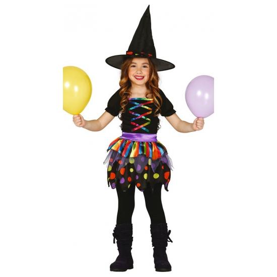 Gekleurd heksen kostuum voor meisjes