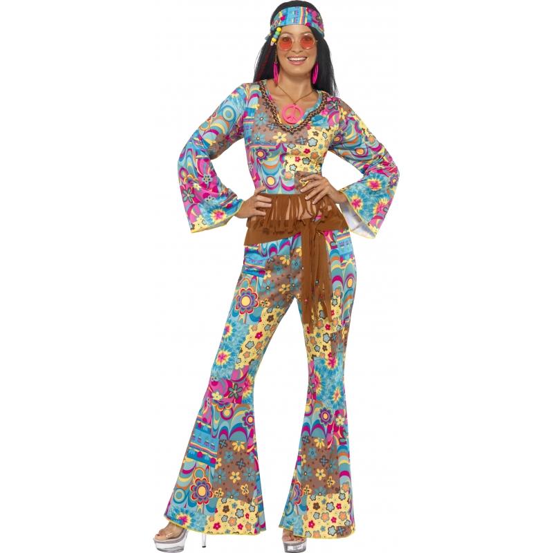 Gekleurde flower power Hippie verkleedkleding
