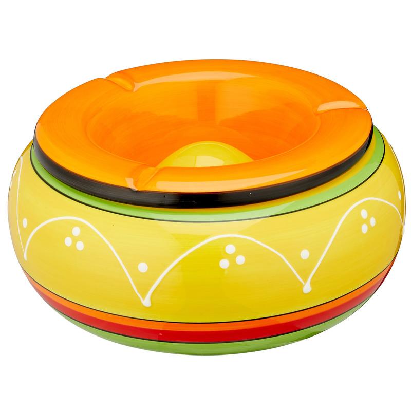 Gekleurde grote terras asbak/storm asbak geel met oranje 23 cm