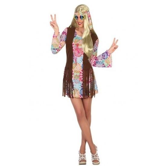 Gekleurde hippie/flower power verkleed jurk voor dames