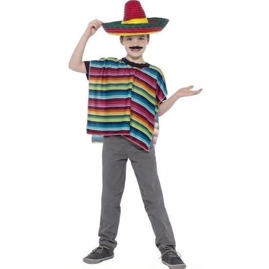 Gekleurde Mexicaanse verkleed poncho en sombrero voor kinderen