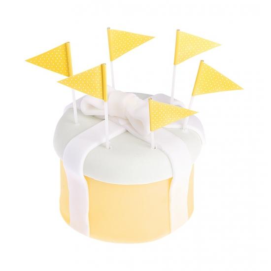 Gele cocktailprikkers 25 stuks Geel