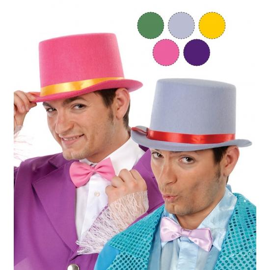 Gele hoge hoed van vilt voor volwassenen