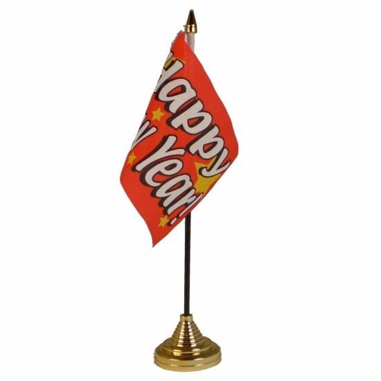 Gelukkig Nieuwjaar tafelvlaggetje 10 x 15 cm met standaard