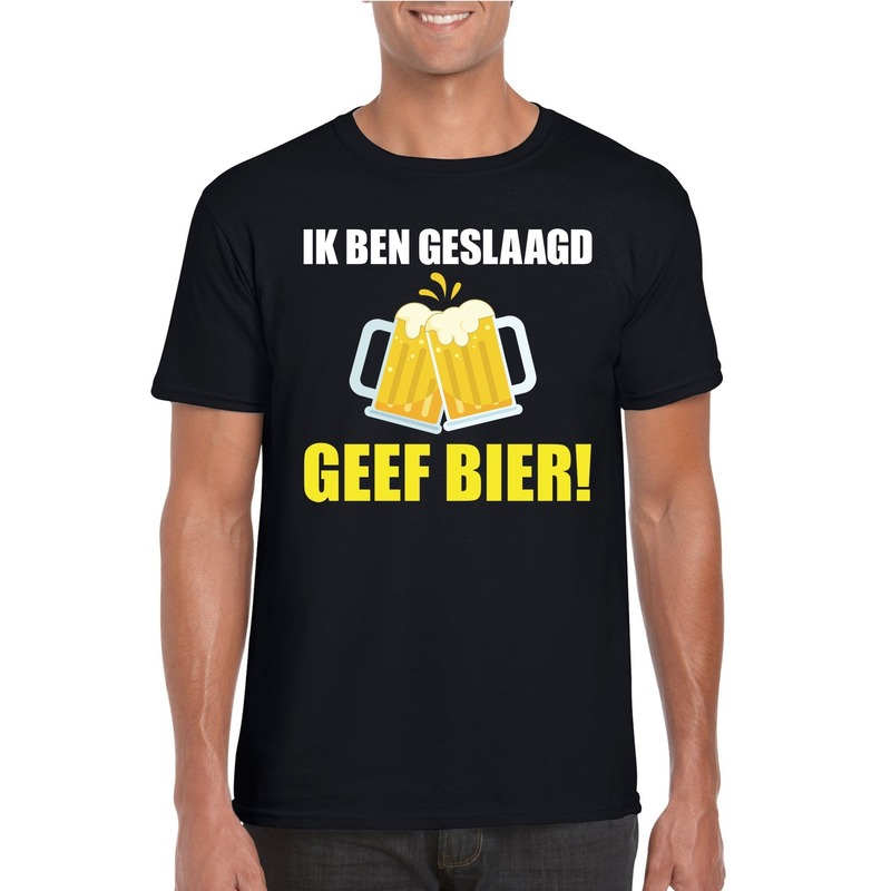 Geslaagd geef bier t-shirt zwart heren