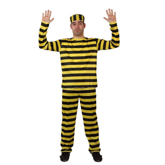 Gestreept boeven pak kostuum geel verkleedkleding