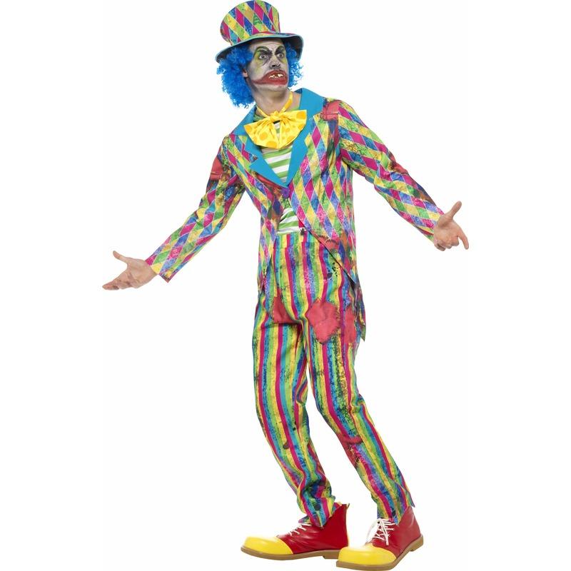 Gestreept horror clowns kostuum voor mannen