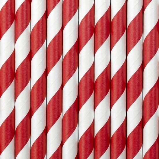 Gestreepte papieren rietjes rood/wit 80x stuks