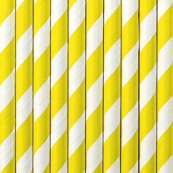 Gestreepte rietjes van papier geel/wit 100x stuks