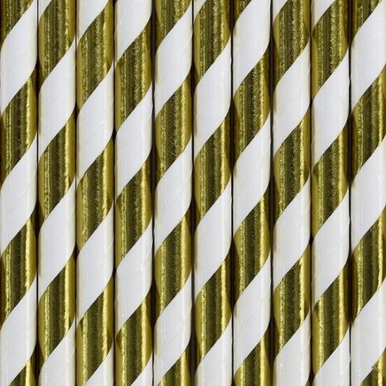 Gestreepte rietjes van papier goud/wit 80x stuks