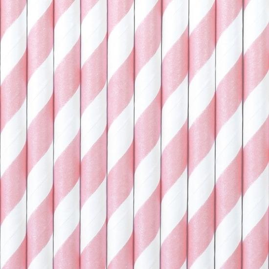 Gestreepte rietjes van papier lichtroze/wit 50x stuks