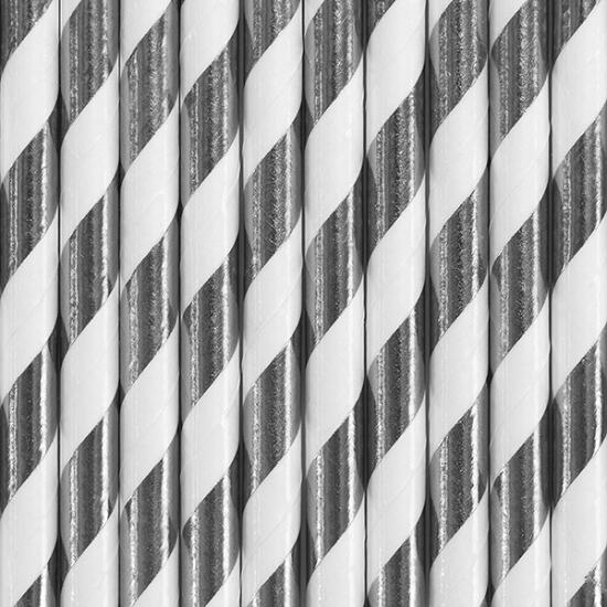Gestreepte rietjes van papier zilver/wit 50x stuks