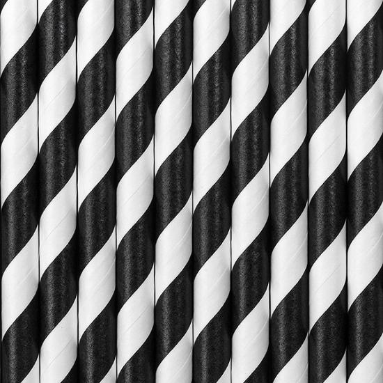 Gestreepte rietjes van papier zwart/wit 80x stuks